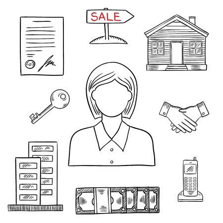 realtor: Realtor profession icon for real estate and business design usage with female agent, apartment house, wooden home, key, money, contract, handshake, telephone and sale poster. Sketch style Illustration