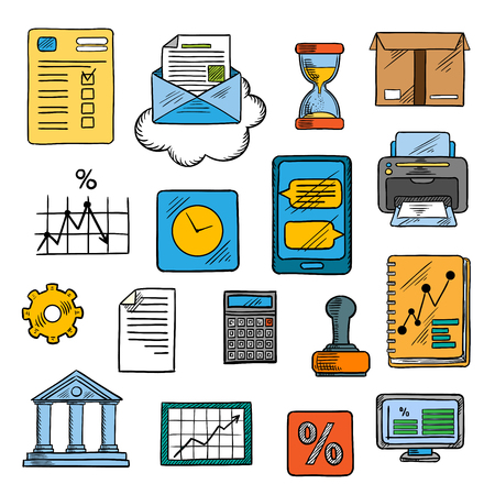 gear box: Business project, financial reports with charts and diagrams, smartphone with messages, computer monitor, delivery box, calculator, email, bank, percent and gear signs, rubber stamp, hourglass and wall clock colorful sketch symbols