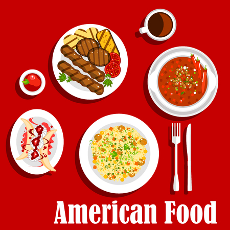 rice and beans: American dinner icon with jambalaya with rice and meat balls, vegetarian chilli, grilled beef steaks with sliced vegetables and ketchup, coffee served with banana split dessert, topped with whipped cream and fruity sauce. Flat style
