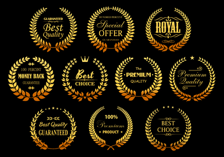 stars and symbols: Premium quality guarantee golden laurel wreaths symbols with circle badges, composed from gold branches with stars, crowns and vignettes decorative elements. Retail, sale, promotion design usage Illustration