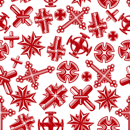 Antica religione attraversa sfondo trasparente con modello rosso dei crocifissi cristiani di cattolici, ortodossi, luterani e anglicani. La religione, la chiesa, la cultura, il design a tema di arte Archivio Fotografico - 55306644