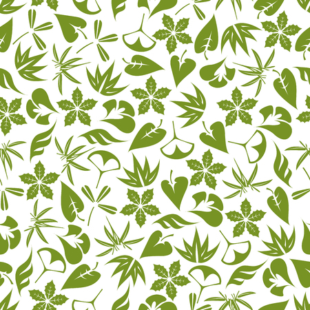 clover backdrop: Retro seamless foliage pattern with pale green leaves of aloe vera, bamboo, clover, exotic palms, ginkgo biloba and christmas poinsettia over white background. Great for fabric, wallpaper, nature backdrop design Illustration
