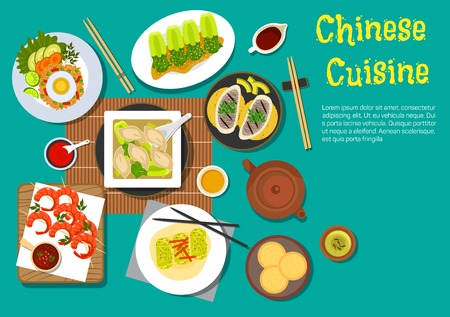 Traditional chinese food set out on a table flat icon with top view of egg fried rice, grilled shrimps skewers, dumplings, served with bok choy, spring rolls, sesame bread, blanched bok choy with vinegar, grilled oysters, variety of sauces and green tea Illustration