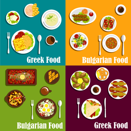 bulgarian: Rustic dishes of greek and bulgarian cuisine icons with gyro sandwiches and kebapche, various seafood, soups and vegetable salads, fried cheese, vegetarian appetizers and baklava filled with nuts and honey. Flat style Illustration