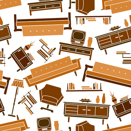 decorative accessories: Interior of living room seamless pattern in shades of brown and yellow colors with flat couches, bookshelves, armchairs and chests of drawers with tv sets and decorative accessories over white background Illustration