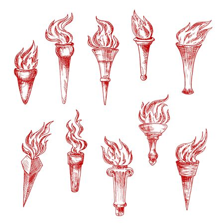 peace concept: Old handheld and wall red flaming torches isolated sketch icons with bright fire flames. Vintage engraving torchlights for sport, history, peace concept design usage