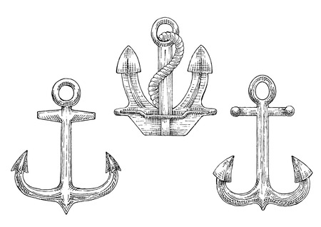 navy ship: Sketched navy ship anchors symbols with stockless and admiralty anchors, decorated by twisted rope. Great for tattoo, naval heraldry or marine travel design Illustration