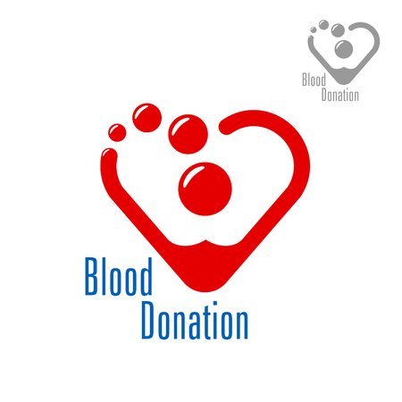 life saving: Bright red heart made of blood drops with caption Blood Donation. Medicine, life saving, charity, healthcare theme design