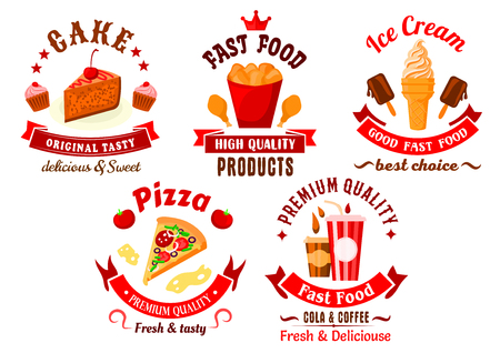 bright cake: Fast food and pastry cartoon bright symbols with italian pizza, fried chicken legs, takeaway cups of coffee and soda drinks, ice cream, cake and cupcakes, supplemented by red retro ribbon banners, stars and crown