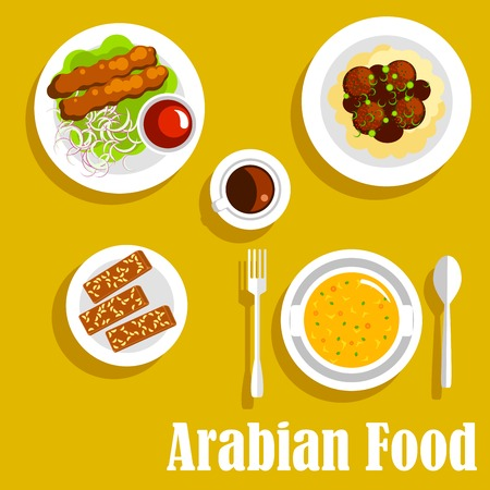 gravy: Authentic arabian cuisine dishes icon with flat symbols of kebab, served with spicy tomato sauce, creamy pea soup, mashed potato, topped with chickpea falafels and gravy, cup of coffee and halva with nuts