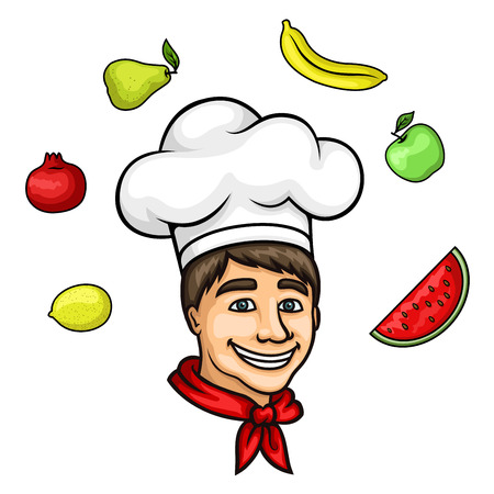 neckerchief: Attractive young chef cartoon character, wearing white cook hat and red neckerchief, with summer fresh apple, pear, banana, lemon, pomegranate and watermelon fruits above head. May be used as restaurant symbol, menu decoration element or farm market desig Illustration