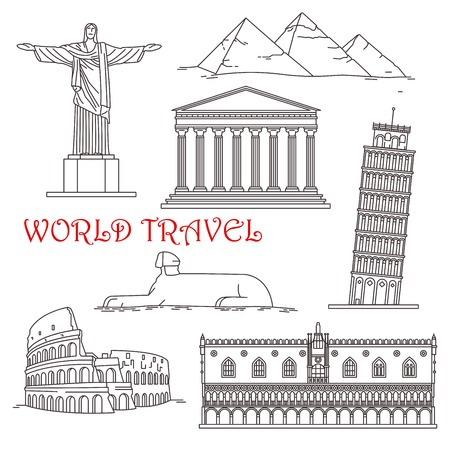 redeemer: Famous architectural landmarks for travel design with thin line icons of italian leaning tower of Pisa, roman Colosseum and venetian Doge palace, egyptian Giza pyramids complex with great Sphinx, Christ the Redeemer in Brazil and ancient greek temple Part Illustration