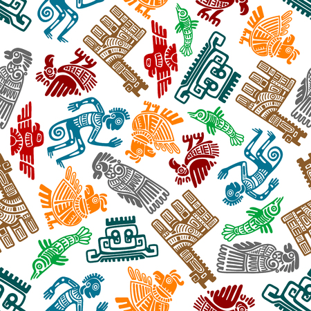 ancient bird: Seamless mayan and aztec totems pattern with colorful symbols of birds, idols, fish, shamans and lamas in tribal style over white background. Use as ethnic textile print or ancient culture and religion theme design