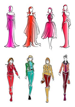 moda ropa: siluetas de colores de boceto de las chicas de moda moderna, el uso de ropa todos los días brillantes y vestidos de noche sin mangas formales. Utilice como la moda, ir de compras o el diseño venta de tema