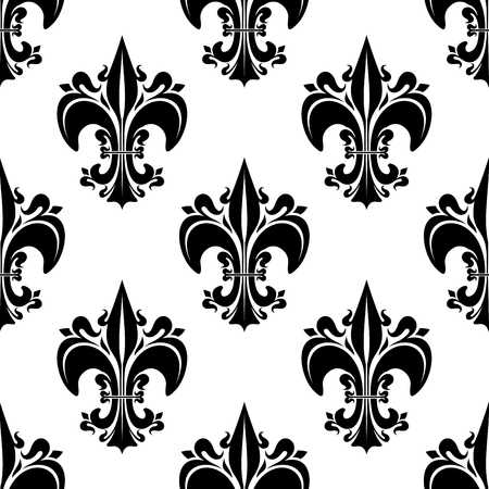 adorned: Decorative seamless black fleur-de-lis pattern of florid french heraldic lilies, adorned by buds and curlicues on white background. Use as vintage interior, wallpaper or royal theme design