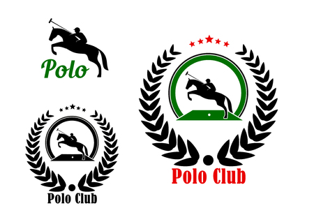 long handled: Polo player with rearing up horse and long handled mallet icons for polo club or equestrian sport design, framed by laurel wreath with stars on the top part and caption Polo Club below