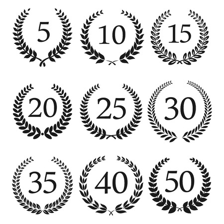 Congratulatory laurel wreaths symbols for anniversary or jubilee greeting card, invitation design usage with numbers from 5 to 50 in the center Иллюстрация