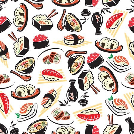noodle soup: Authentic japanese cuisine seamless pattern on white background with seafood rice, sushi rolls with avocado and red caviar, tuna and salmon nigiri sushi, noodle soup and sake. Restaurant menu flyleaf, healthy food, asian culture theme design