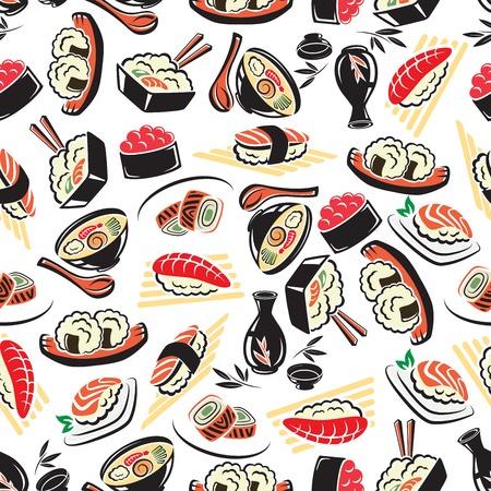 japanese sake: Modelo inconsútil de la cocina japonesa auténtica en el fondo blanco con arroz de marisco, rollos de sushi con aguacate y caviar rojo, atún y salmón nigiri sushi, sopa de fideos y el sake. Menú del restaurante guarda, alimentos saludables, diseño del tema de la cultura asiática