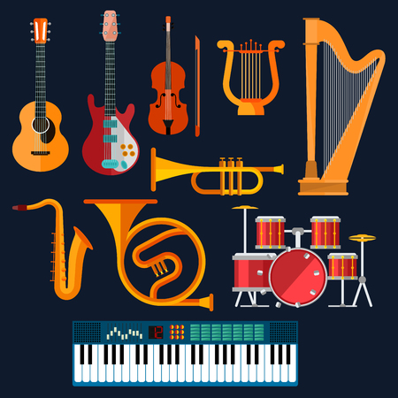 electric guitars: Musical instruments icons with flat symbols of drum set, acoustic and electric guitars, violin, synthesizer, saxophone, trumpet, harp, ancient lyre and horn. Art, culture, musical entertainment concept Illustration