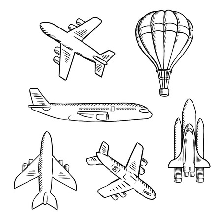 Air transport sketches with jet airplane, cargo planes, vintage hot air balloon and modern space shuttle. Isolated aircraft icons for transportation, travel or shipping theme design usage