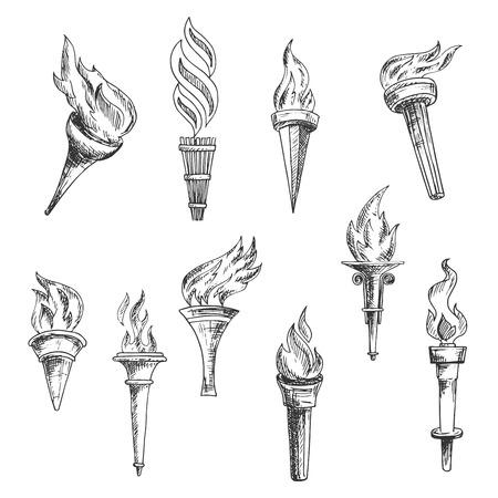 torches en bois antiques vintages des croquis de gravure avec des remous ornementaux de flamme. Peut être utilisé comme le sport, la religion, l'histoire ou de l'équipement de la foudre conception de thème