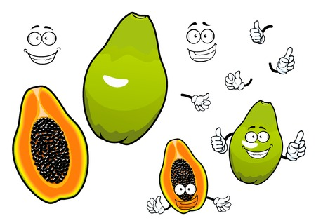 halved: Whole and halved mexican tropical papaya fruit cartoon characters with joyful smiling faces. Great for recipe book, vegetarian menu, kitchen interior accessories design