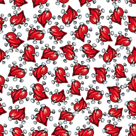 pierce: Seamless retro stylized cartoon broken hearts with silver nails pattern over white background. May be used as Valentine backdrop, divorce, heartbreak, loneliness theme design