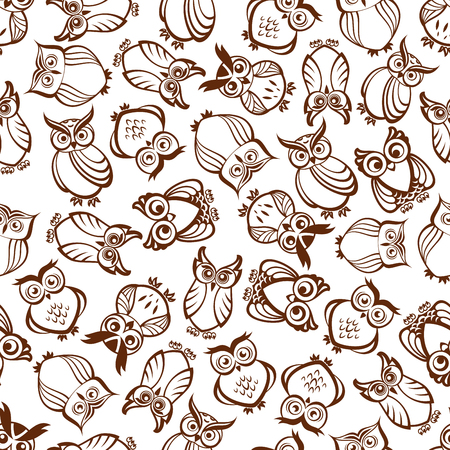 feathering: Cute brown owls seamless pattern with outline silhouettes of funny forest birds with ornamental feathering and amazed look. Use as nature background, retro wallpaper design