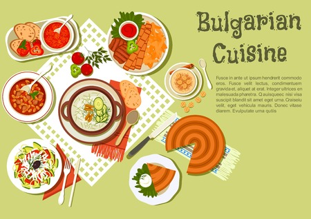 bulgarian: Festive bulgarian dishes flat icon with kebabs served with fried potatoes and tomato sauce, cold yogurt soup tarator with cucumbers, vegetable salad with brine cheese, bean stew, tomato soup, banitsa pie with cheese, yogurt dessert with fried pastries, ho