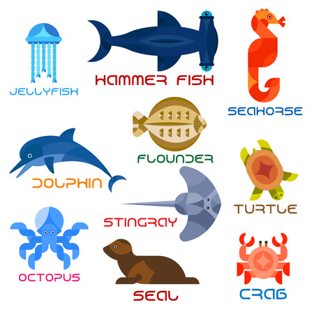 Cartoon marine animals named flat icons with atlantic crab, jumping dolphin, swimming turtle, octopus, jellyfish, hammer fish, bright red seahorse, common seal, stingray and flounder. Water mammals, fish, reptiles and invertebrates colorful design for chi Illustration