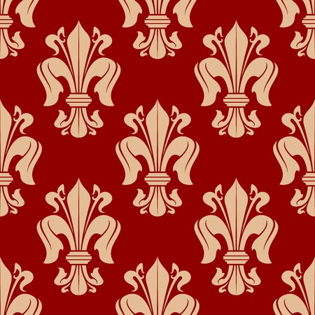 victorian wallpaper: Bright red seamless fleur-de-lis background with floral pattern of victorian heraldic lilies. Luxury wallpaper, vintage interior accessories design usage