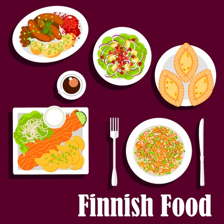 salmon: FIsh and meat dishes of finnish cuisine with flat icons of smoked salmon, served with fried potatoes and garlic sauce, cabbage stew, blood sausages with lingonberry sauce, spinach salad with cheese and cloudberries, karelian rice pie