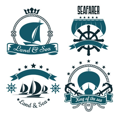 stars and symbols: Romantic sailing ships blue symbols for marine sport or yacht club design, supplemented by helms, anchors, sails, ropes and ribbon banners with stars and crown Illustration