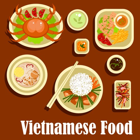 deep fried: Fresh and healthy dishes of vietnamese cuisine with flat icons of grilled meat with rice, lemongrass and carrot sticks, crab, shrimp salad, rice noodles with deep fried fish, fried shrimps with sesame seeds and sweet potatoes, soy and fish sauces Illustration