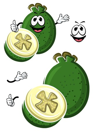flavorful: Ripe flavorful cartoon australian feijoa fruit with dark green waxy peel and wavy flower cup on the top. Cheerful tropical fruit character design for recipe book, exotic cocktail, vegetarian food theme design Illustration