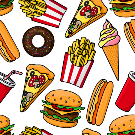 soft serve ice cream: Junk food and drinks seamless pattern with retro stylized cartoon cheeseburgers, hot dogs, pizza, french fries, takeaway cups of sweet soda, vanilla and strawberry soft serve ice cream cones and chocolate donuts on white background