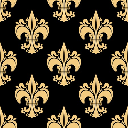 monarchy: Seamless golden fleur-de-lis pattern with ornate heraldic lilies, decorated by victorian leaf scrolls and flourishes on black background. History, heraldry, monarchy theme design usage