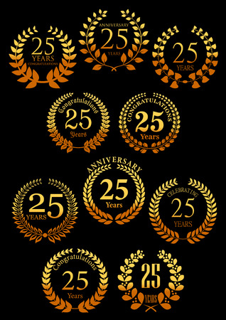 25: Heraldic gold laurel wreaths symbols for 25 anniversary and festive design with vintage leafy branches, arranged into circle frames with color gradation from golden to orange