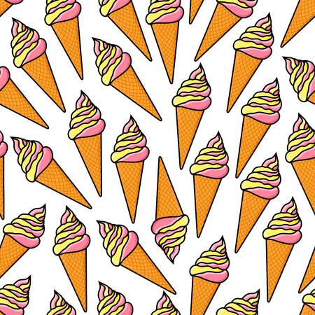 soft serve ice cream: Cartoon seamless vanilla and strawberry ice cream pattern with twisted soft serve ice cream cones on white background. Retro stylized fast food dessert menu, summer treat theme design