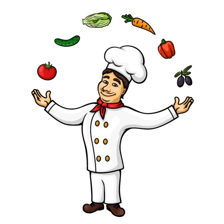 conjuring: Cartoon chef of italian cuisine character wearing white tunic and hat is performing conjuring tricks with juggling of fresh olive fruits, tomato, bell pepper, carrot, cucumber and chinese cabbage vegetables. Restaurant symbol, recipe book, occupation conc