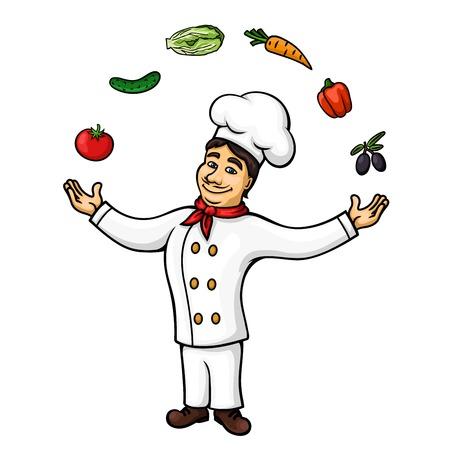 restaurante italiano: Chef de dibujos animados de la cocina italiana personaje que lleve túnica blanca y un sombrero está realizando juegos de manos con malabares de frutas frescas de oliva, tomate, pimiento, zanahoria, pepino y verduras de col china. símbolo restaurante, libro de recetas, conc ocupación