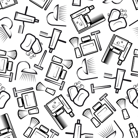 white bathroom: Seamless hygiene and bathroom accessories pattern with outline silhouettes of soap bars, shower heads, toothbrushes and toothpaste, shaving items, shampoo and lotion bottles, hair brushes over white background. Health care, medicine, hygiene theme