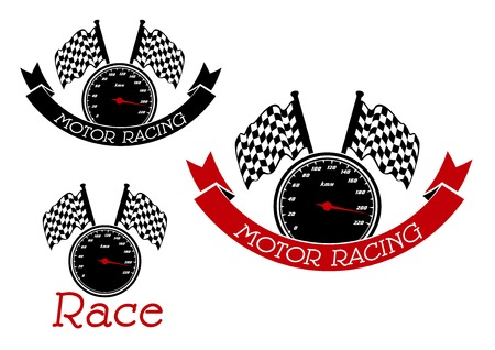 motorsport: Speedometer with checkered race flags symbols for race sport and motor racing competition design, adorned by black and red ribbon banners
