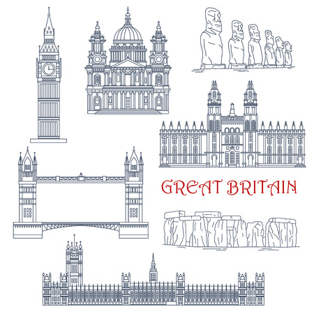 Linear architecture and historical landmarks of Great Britain and Chile for travel and tourism design with thin line icons of Big Ben, Stonehenge, Tower Bridge, Windsor Castle and St Paul Cathedral and moai stone figures of Easter Island Illustration