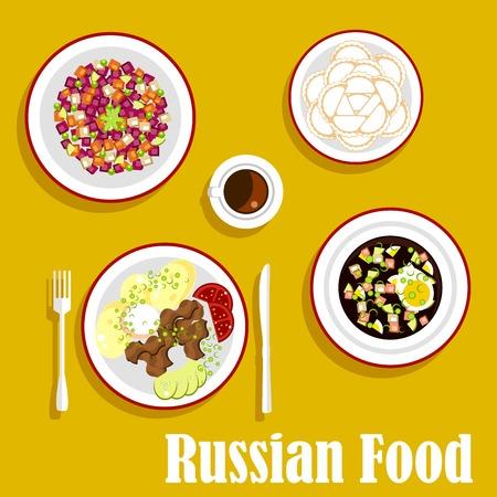 ensalada rusa: Los platos más populares de la cocina rusa con stroganoff, servido con patatas cocidas, verduras frescas y crema agria, Okroshka sopa fría con kvas de pan de centeno, Vinegret ensalada vegetariana, bolas de masa hervida y una taza de café. estilo plano