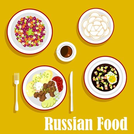 russian cuisine: Popular dishes of russian cuisine with beef stroganoff, served with boiled potatoes, fresh vegetables and sour cream, cold soup okroshka with rye bread kvass, vegetarian salad vinegret, dumplings and cup of coffee. Flat style