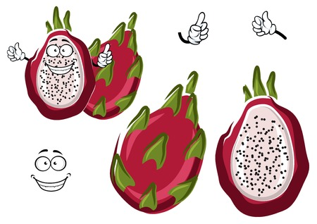 pinkish: Cartoon ripe white fleshed pitaya fruit with leafy pinkish red peel. Happy dragon fruit character for exotic farm mascot, vegetarian recipe, tropical cocktail design usage