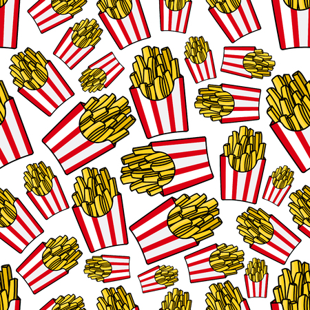 fried potatoes: Takeaway french fries cartoon background with seamless pattern of white and red striped paper boxes of fried potatoes. Fast food cafe, textile print or junk food theme design Illustration