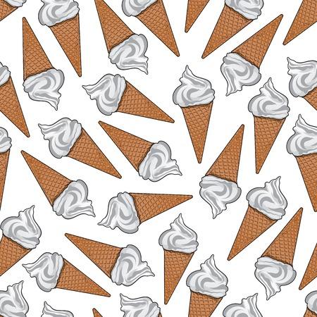 vanilla ice cream: Delicious vanilla ice cream cartoon background with seamless pattern of ice cream cones with golden crispy sugar waffles. Cafe interior, dessert menu, scrapbook page backdrop design usage Illustration